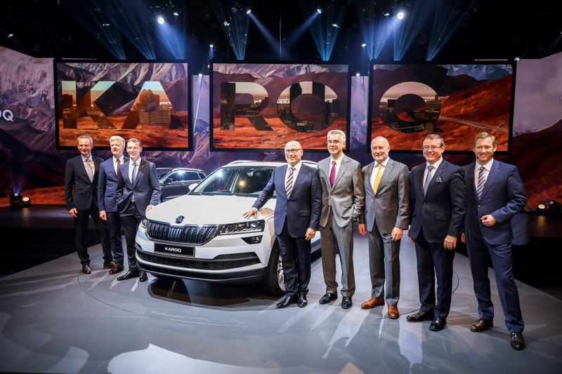 The ŠKODA board members at the world premiere of the ŠKODA KAROQ: at the Artipelag museum near Stockholm – 18 May 2017.