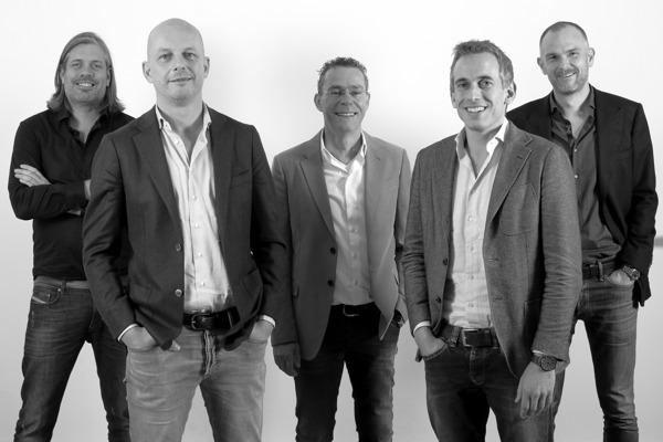 V.l.n.r. Patrick van der Vliet, Sjoerd van Gelderen, Geert Rietbergen, Seth van der Maas en Robert Goedemans.