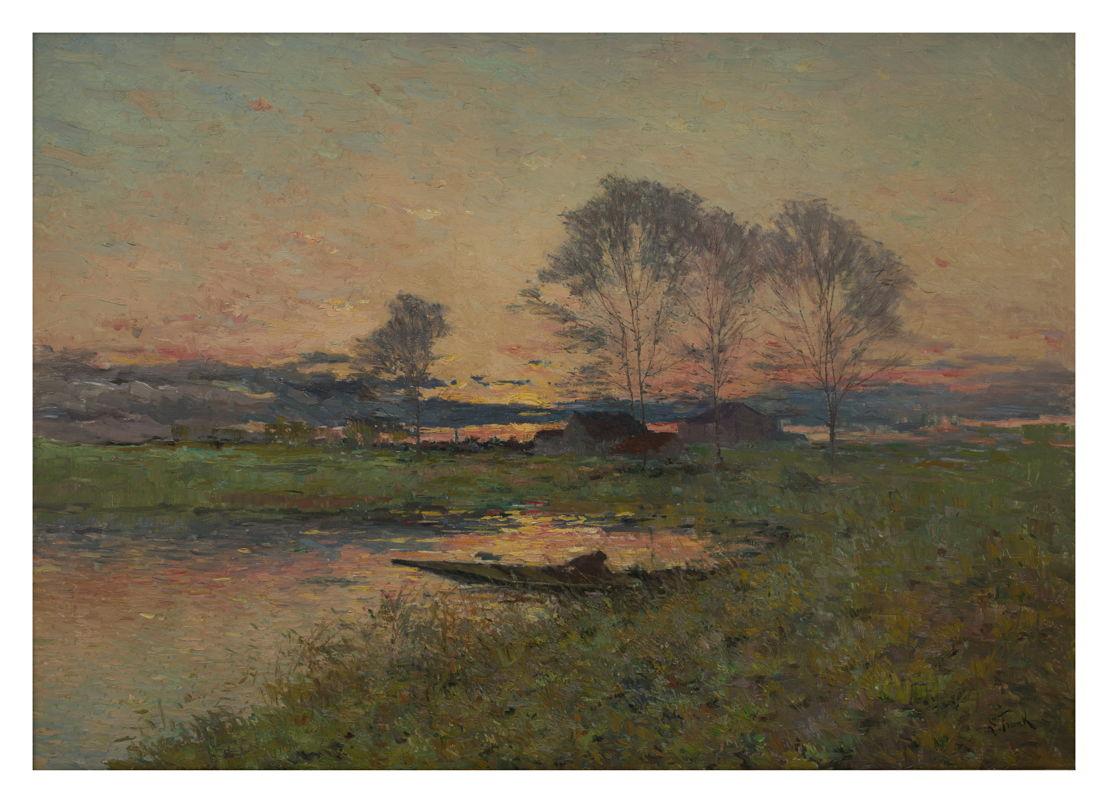 Lucien Frank, Sur l'étang à Vossem à la tombée de la nuit, Galerie K&G Van de Ven © Isabelle Arthuis