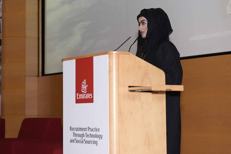 Amira Al Awadhi, Vice President National Recruitment and Development for Emirates Group opening Emirates' first conference around best recruitment practices through technology and social sourcing.