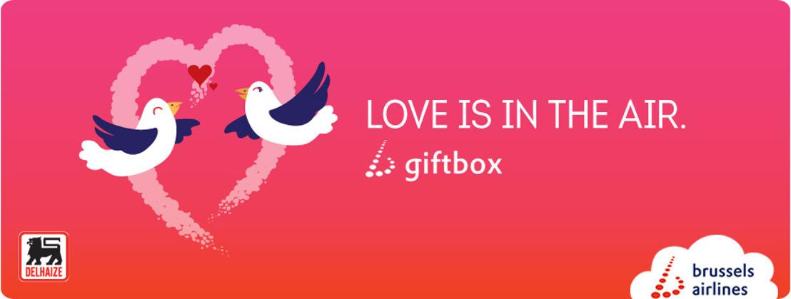 Brussels Airlines en Delhaize ontwikkelen samen cadeaubox voor Valentijn.
