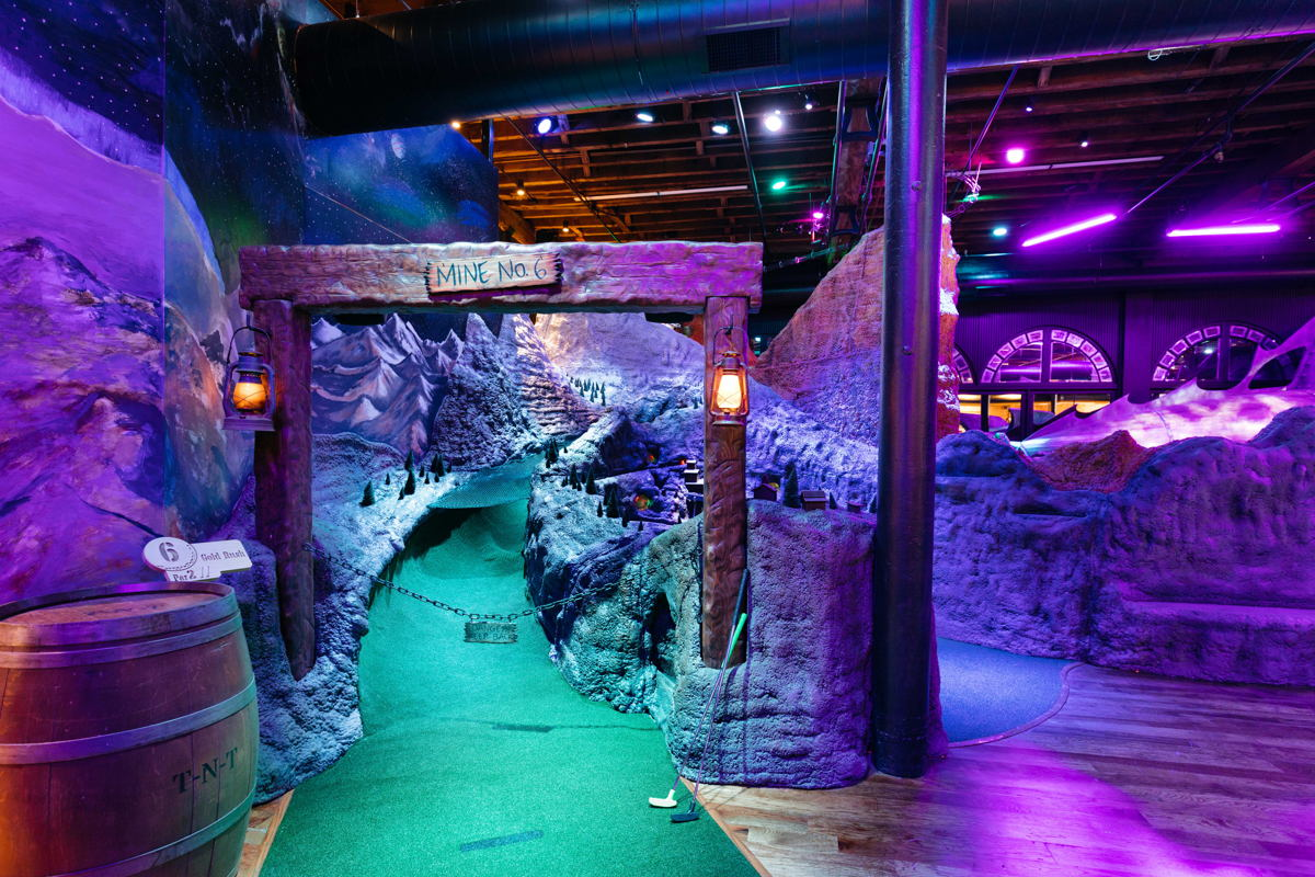 The Gold Rush hole at Urban Putt takes players through Colorado's gold mining heritage. Photo credit: Brittni Bell Photo