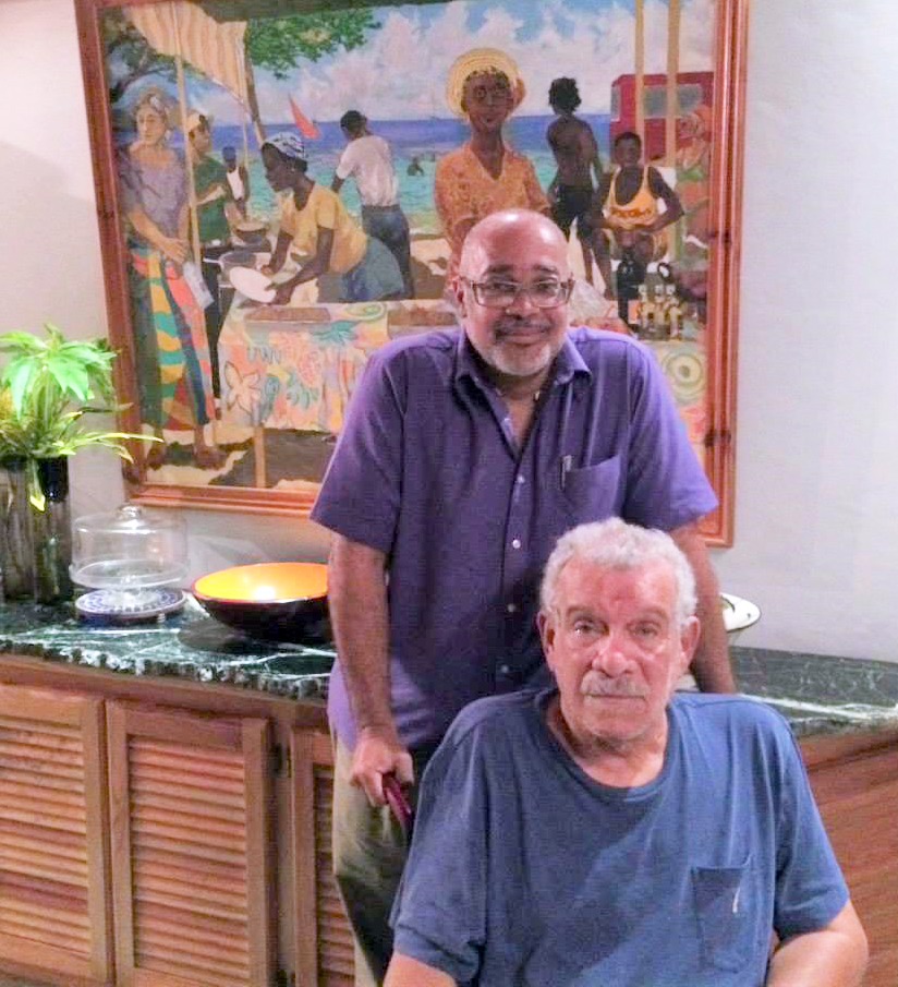 OECS Director General, Dr. Didacus Jules, with friend, Sir Derek Walcott, at his home in St. Lucia.