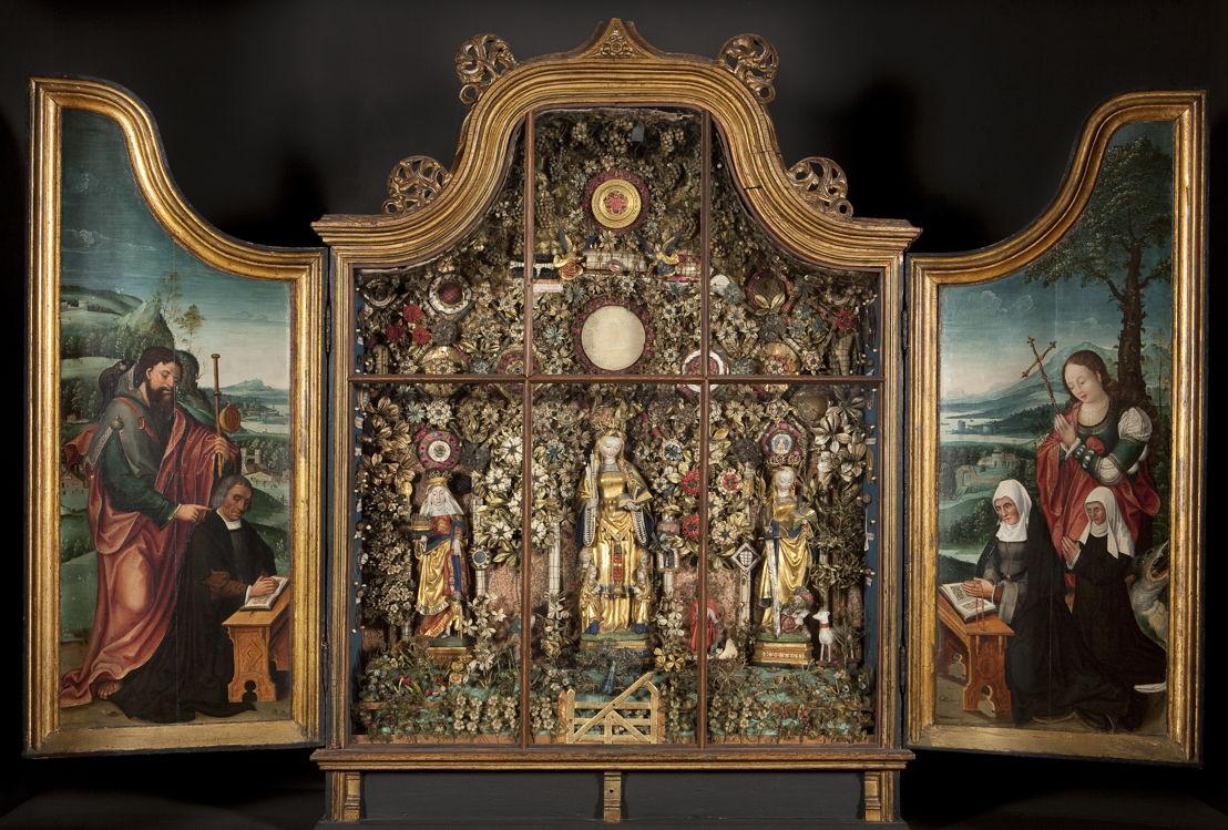 Op zoek naar Utopia © Besloten Hofje met de heilige Elisabeth, de heilige Ursula en de heilige Catharina, c. 1520-1530. Stedelijke Musea, Mechelen