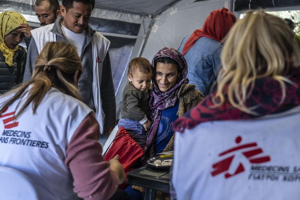 Campaña de vacunación de MSF con niños y niñas refugiados en Lesbos. © Anna Pantelia/MSF