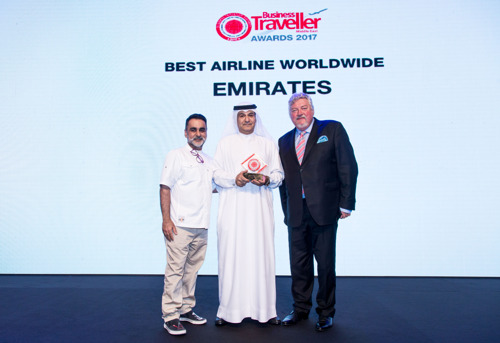Emirates Wins Best Airline Worldwide at the 2017 Business Traveller Awards in a Sweep of Four Awards