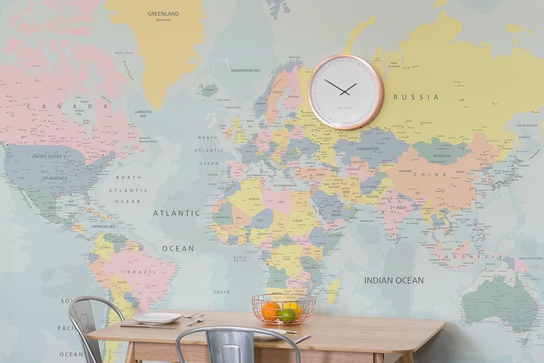 Pastel World Map Wallpaper Mural