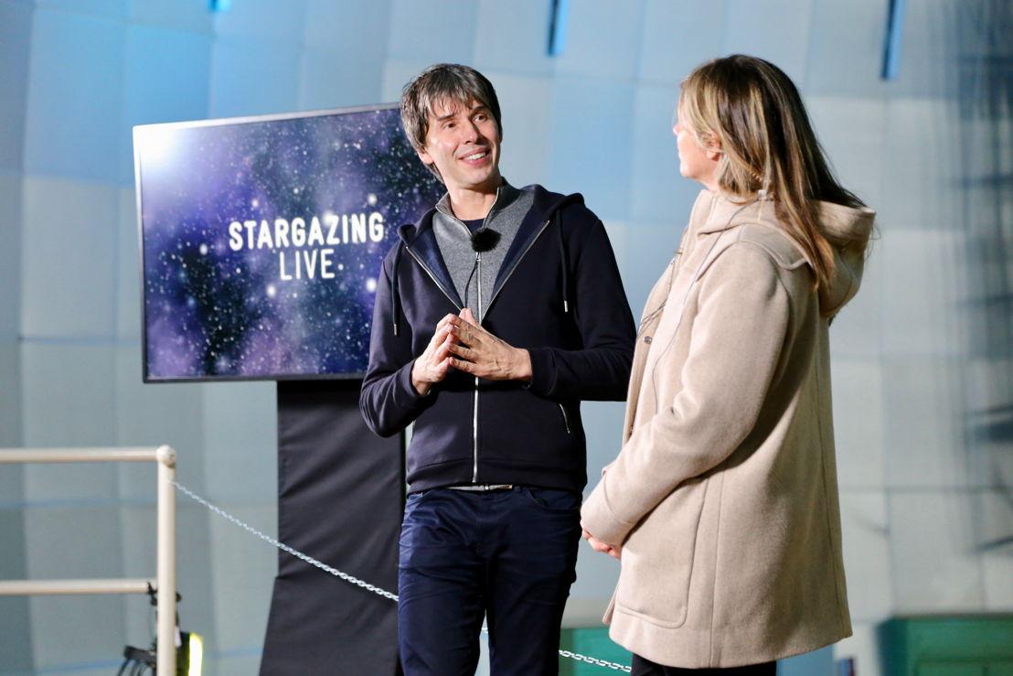 Brian Cox and Julia Zemiro rehearsing for Stargazing Live
