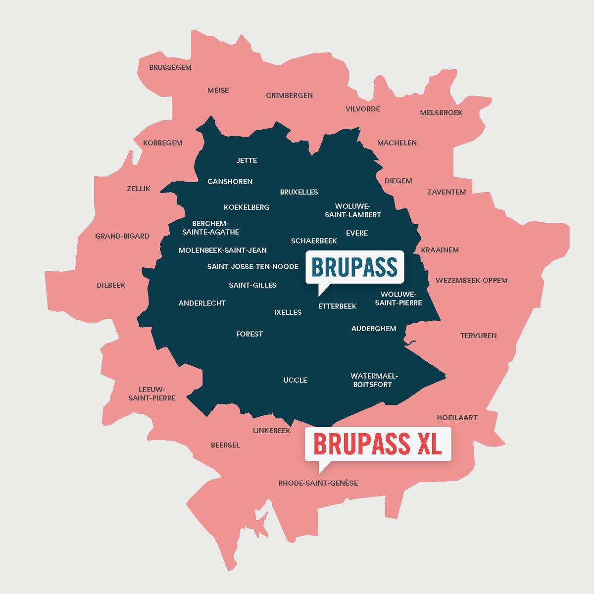 La zone BRUPASS XL comprend la zone actuelle de Bruxelles (ancienne « zone MTB », zone bleue sur la carte) ainsi que la zone étendue (zone rose sur la carte).