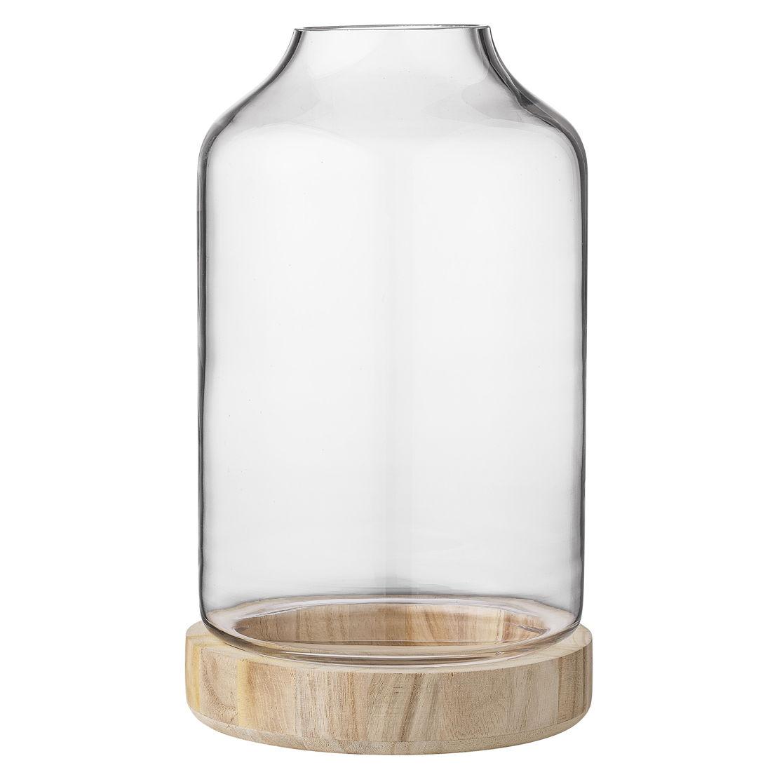 Bloomingville Lantaarn glas met houten basis - €55
