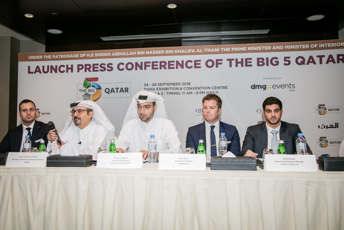 (From left) dmg events Doha country manager Rawad Sleem, Ashghal Planning & Quality Department manager Jamal Sharida al-Kaabi, QTA director of Exhibitions Ahmed al-Obaidli, dmg events (Design & Hospitality) senior VP Andy Stuart, and Tadmur Trading Business Development manager Omar Halawa.