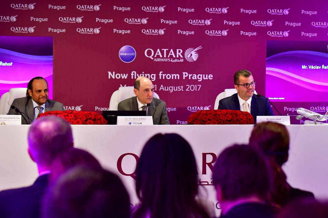 Tisková konference - Šejk Saoud bin Abdulrahman Al Thani (katarský ambasador v Německu), Akbar al-Bákir (generální ředitel Qatar Airways), Václav Řehoř 1