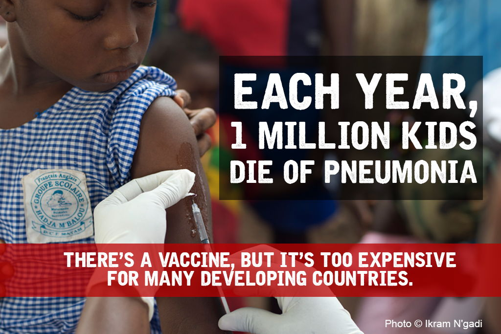 Each Year 1 million kids die of pneumonia. There's a vaccine, but it's too expensive for many developing countries. Photographer: MSF