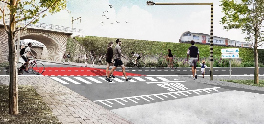 Vier kilometer fietssnelweg tussen het station van Vilvoorde en de Haachtsesteenweg in Haren