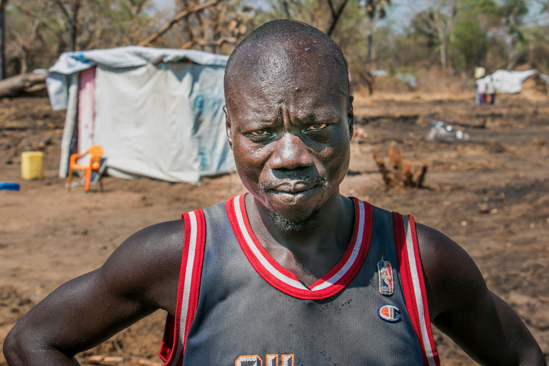 Koboji John is a refugee from Kajo Keji, South Sudan, living in Palorinya refugee camp, Uganda. <br/><br/>Koboji has built a basic shelter for his family but is struggling to make ends meet. Photographer: Fabio Basone/MSF