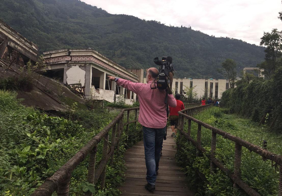 Collapsed school, Yinxiu village - cameraman Wayne McAllister