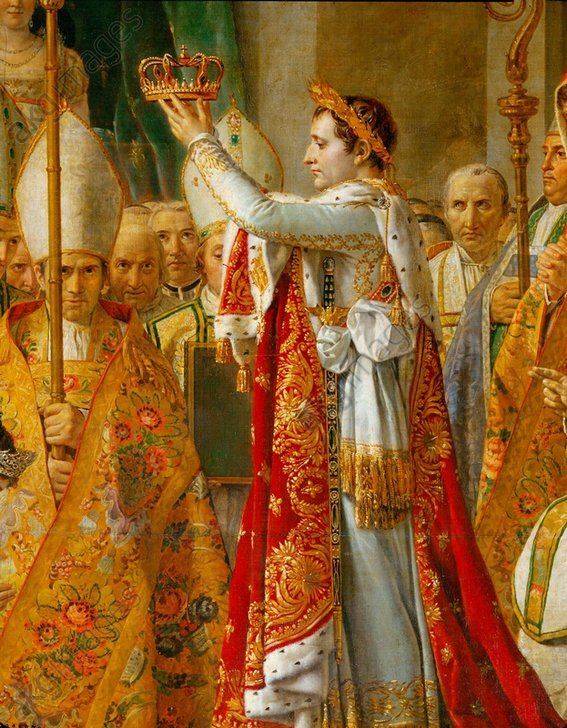 """Image ID: AKG380770<br/><br/>Napoleon's Coronation<br/><br/>Napoleon I Bonaparte, Emperor of France. 1769–1821.<br/><br/>""""Napoleon's Coronation"""" (2nd Dec. 1804 in Notre Dame Cathedral in the presence of Pope Pius VII); Section: Napoleon.<br/><br/>Painting, 1806/7, by Jacques-Louis David<br/>(1748–1825) Oil on canvas, 610 × 931<br/>cm. Inv. 3699<br/>Paris, Musée du Louvre."""