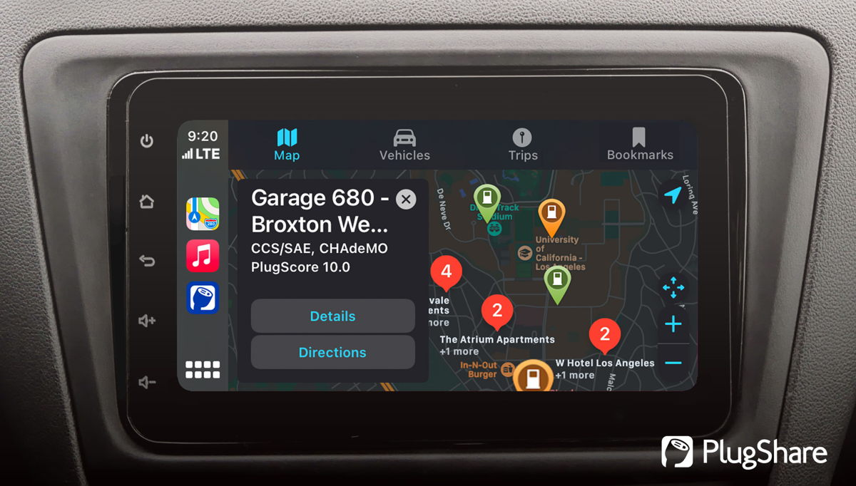 PlugShare map view in Apple CarPlay