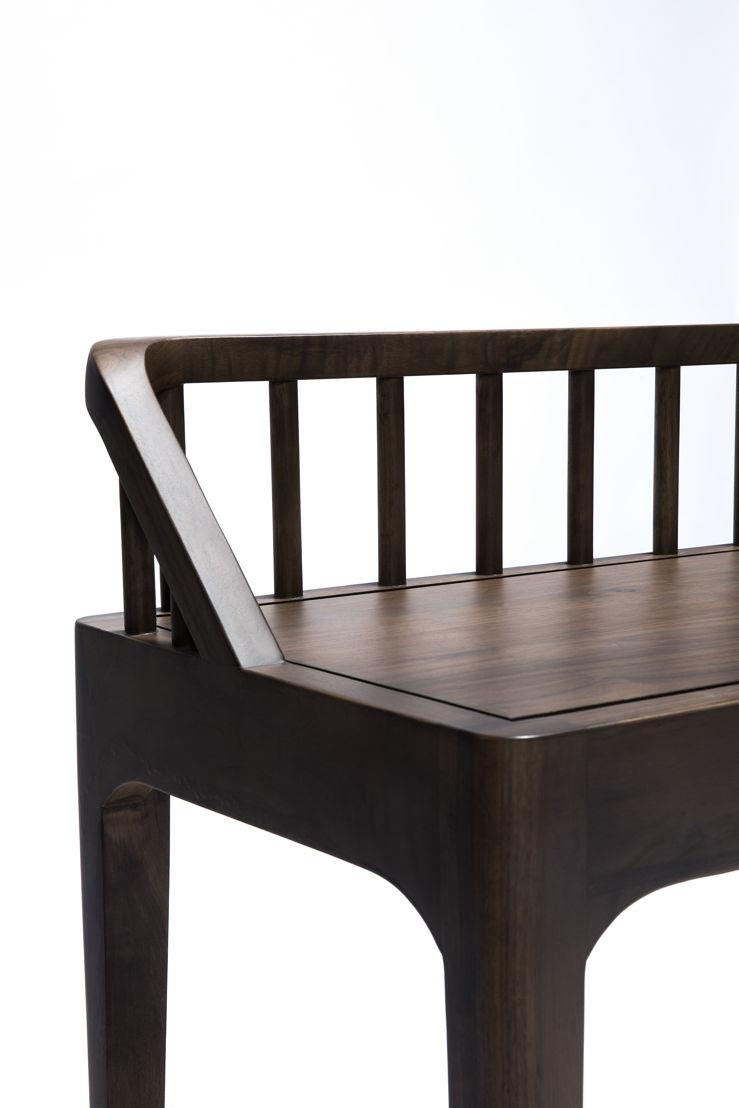 Ethnicraft Walnut Spindle bench_detail