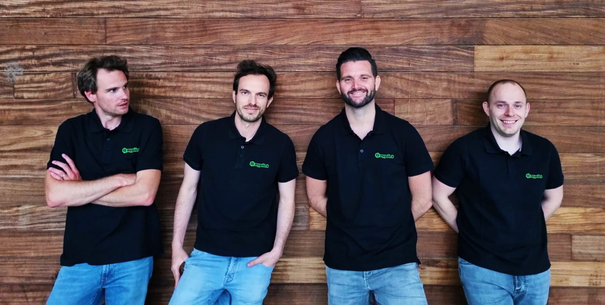 V.l.n.r.: Klaas Vervaeke (Club Succes Manager), Jim Bogaert (CEO), Thomas Rypens (Head of Product), Remi Battaille (CTO)
