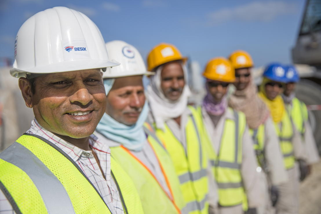 BESIX workers at the Dubai Canal Project