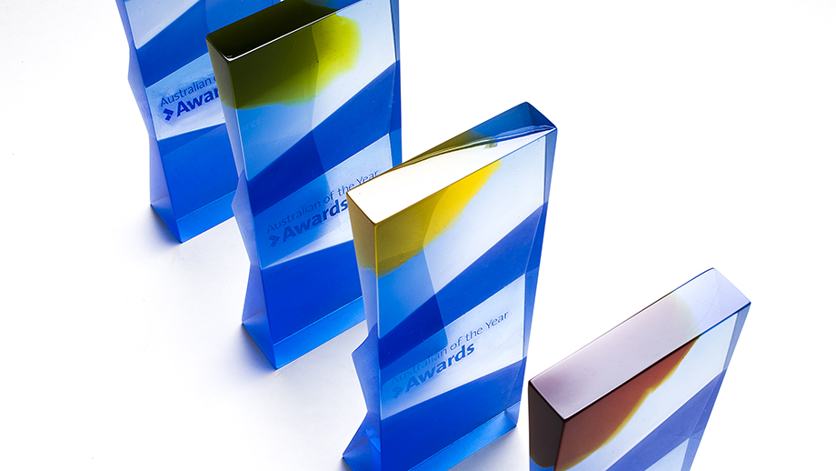 The new design of the 2018 Australian of the Year state Awards. Image: Stuart Hay