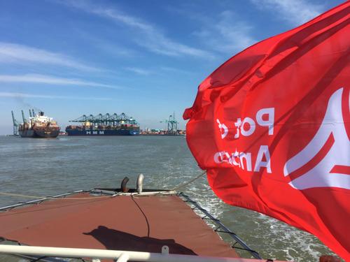 Grootste containerschip ter wereld in haven van Antwerpen