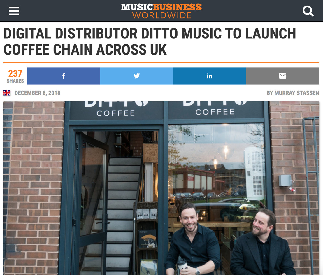 Ditto Music Launches Chain of Coffee Shop to Support Grass-Roots Music Scenes