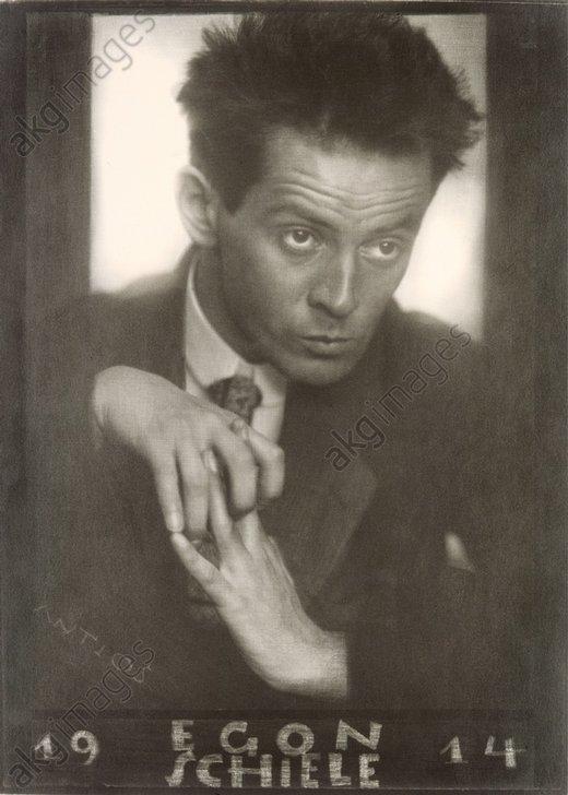 Austrian painter Egon Schiele. 1914. Photograph by Anton Josef Trcka<br/>AKG2611133