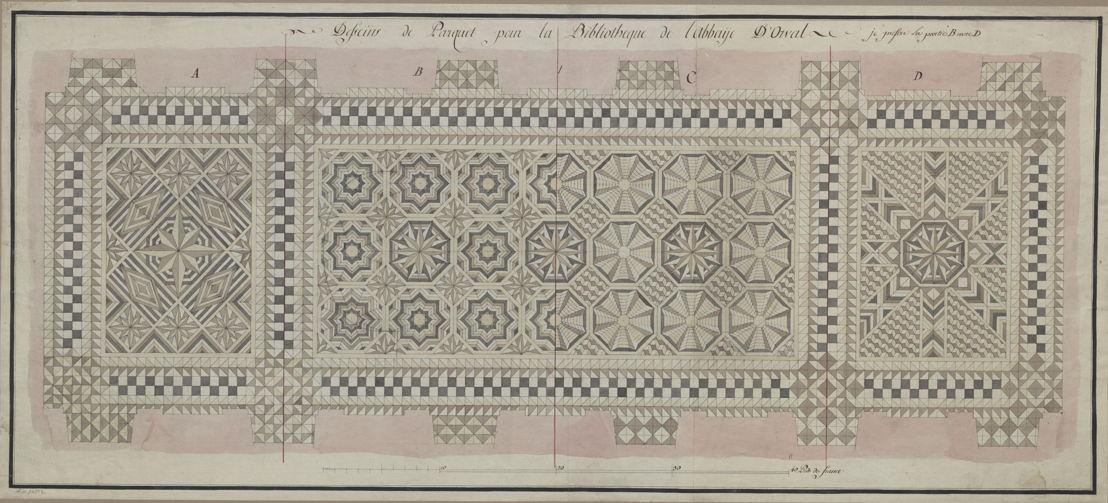 Dessin de parquet pour la bibliothèque de l'abbaye d'Orval (Laurent-Benoît Dewez)