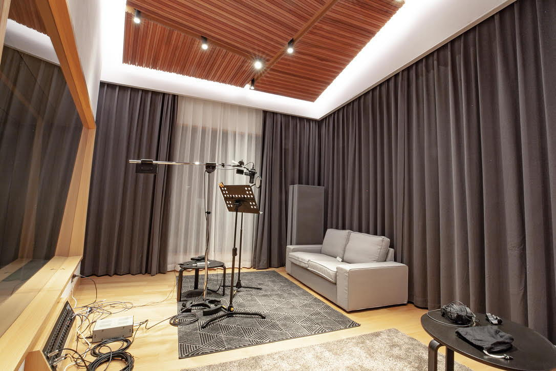 Studio 21A Live Room, drawn curtains provide highly efficient variable acoustic options