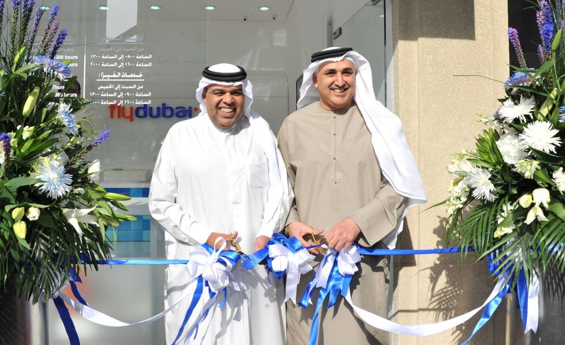 Hamad Obaidalla (left) and Sheikh Khalid Abdulaziz Al Qasimi open the new flydubai Travel Shop in Sharjah