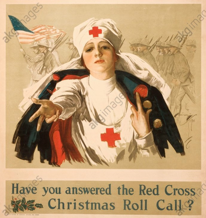 """""""Have you answered the Red Cross Christmas Roll Call?&quot; (World War I). Poster, USA, c. 1918<br/>AKG335102"""