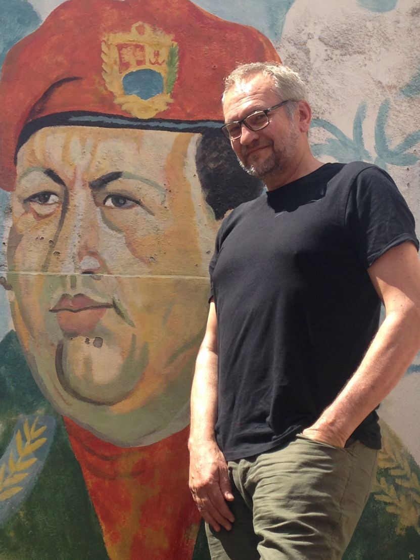 Reporter Eric Campbell, Chavez mural