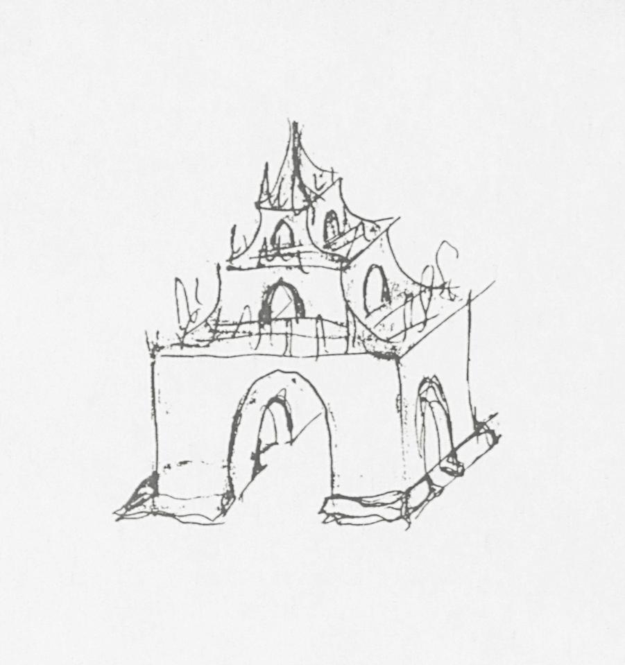 De pagode op de Pantsertroepensquare, 1998. Schets Marc De Roover