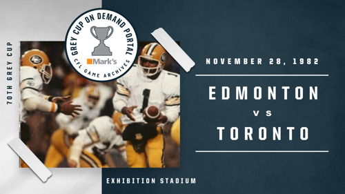 GREY CUP GAMES FROM THE 1980'S NOW AVAILABLE ON THE GREY CUP ON DEMAND PORTAL POWERED BY MARK'S