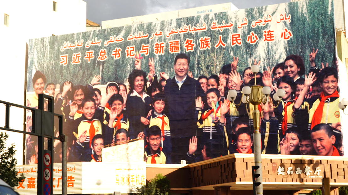 """""""As President Xi said we will be rich and democratic cultural harmonious and beautiful"""" - party loyalist Xiaojing Zhang, pic credit Brant Cumming"""