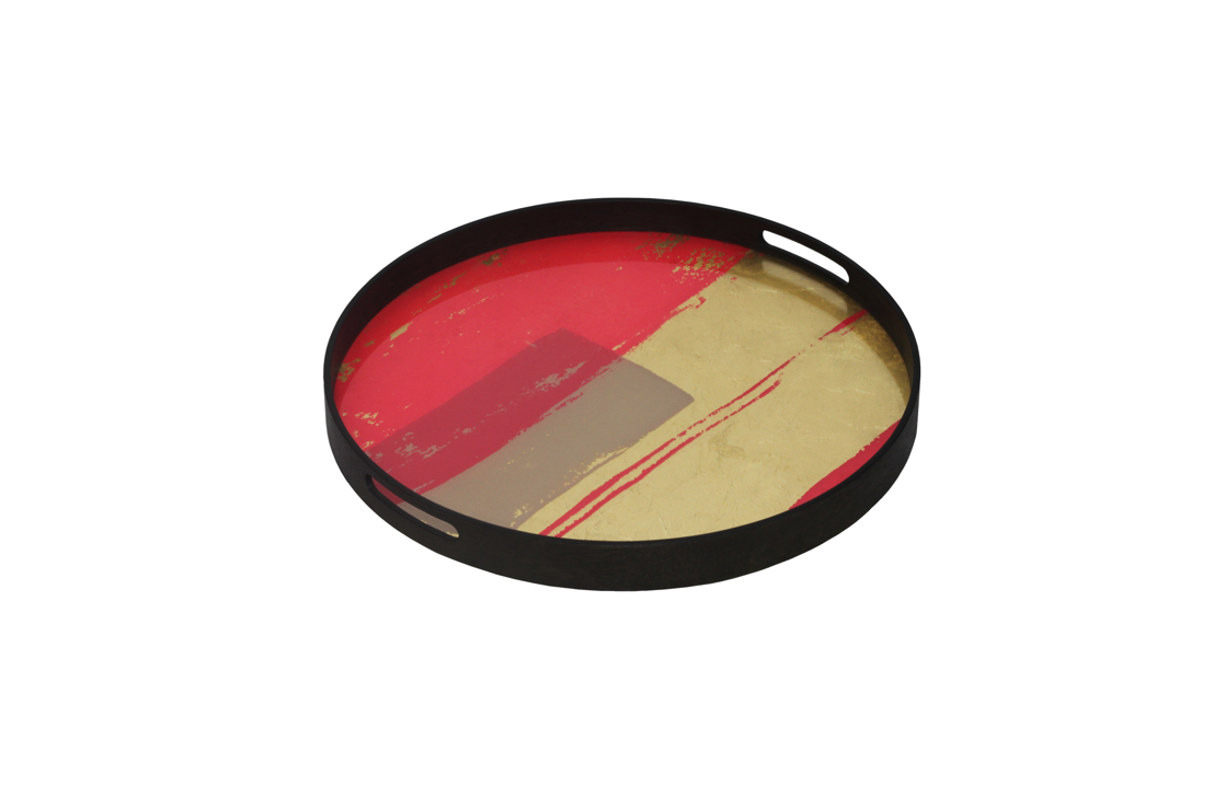 Notre Monde Raspberry Abstract glass tray
