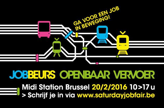 De affiche van de jobbeurs op 20 februari 2016 in brasserie Brussel Midi aan het Zuidstation.