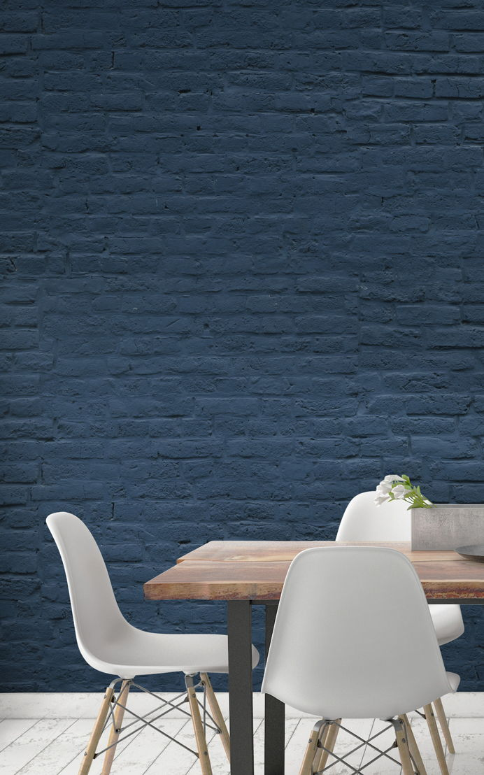 Deep Blue Brick Wallpaper