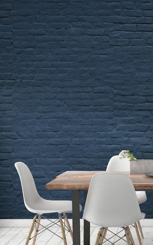 Deep Blue Brick Wallpaper