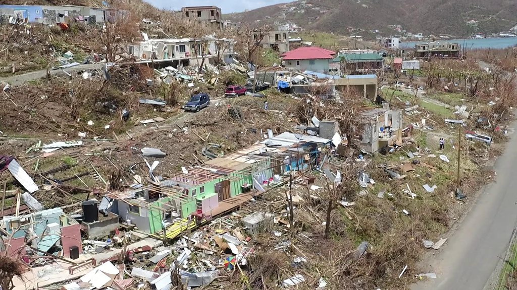 British Virgin Islands in the aftermath of Hurricane Irma.