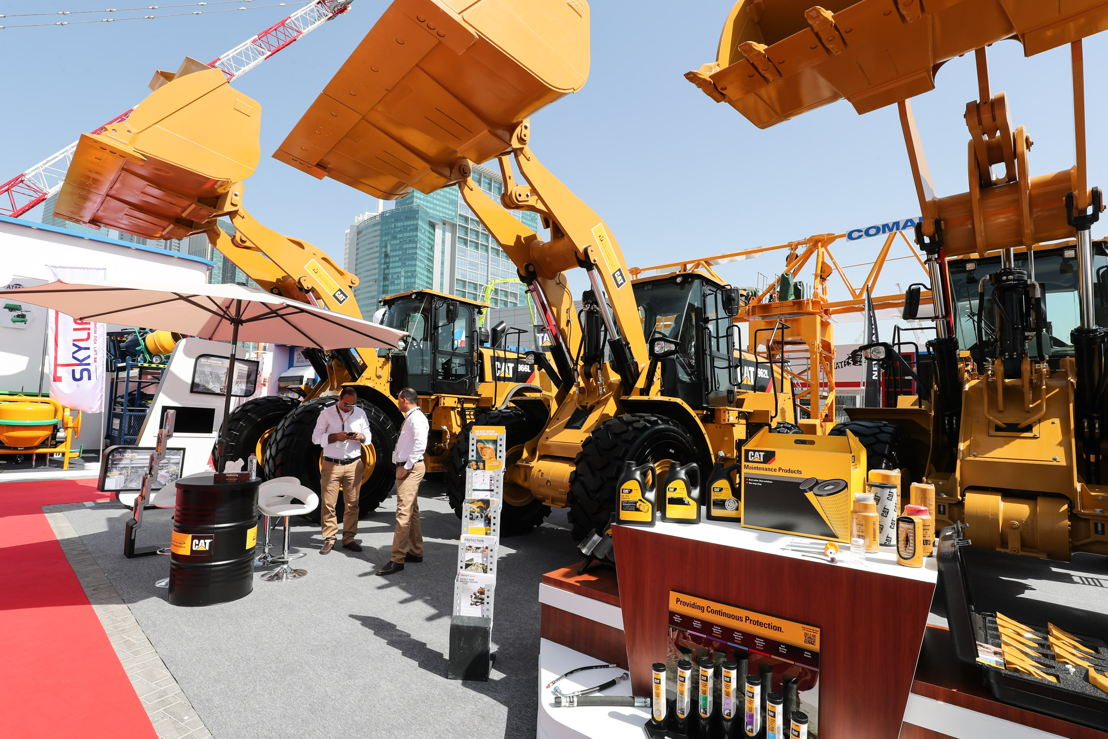 Caterpillar displays a wide range of heavy machinery at The Big 5 Heavy exhibition, Dubai World Trade Centre