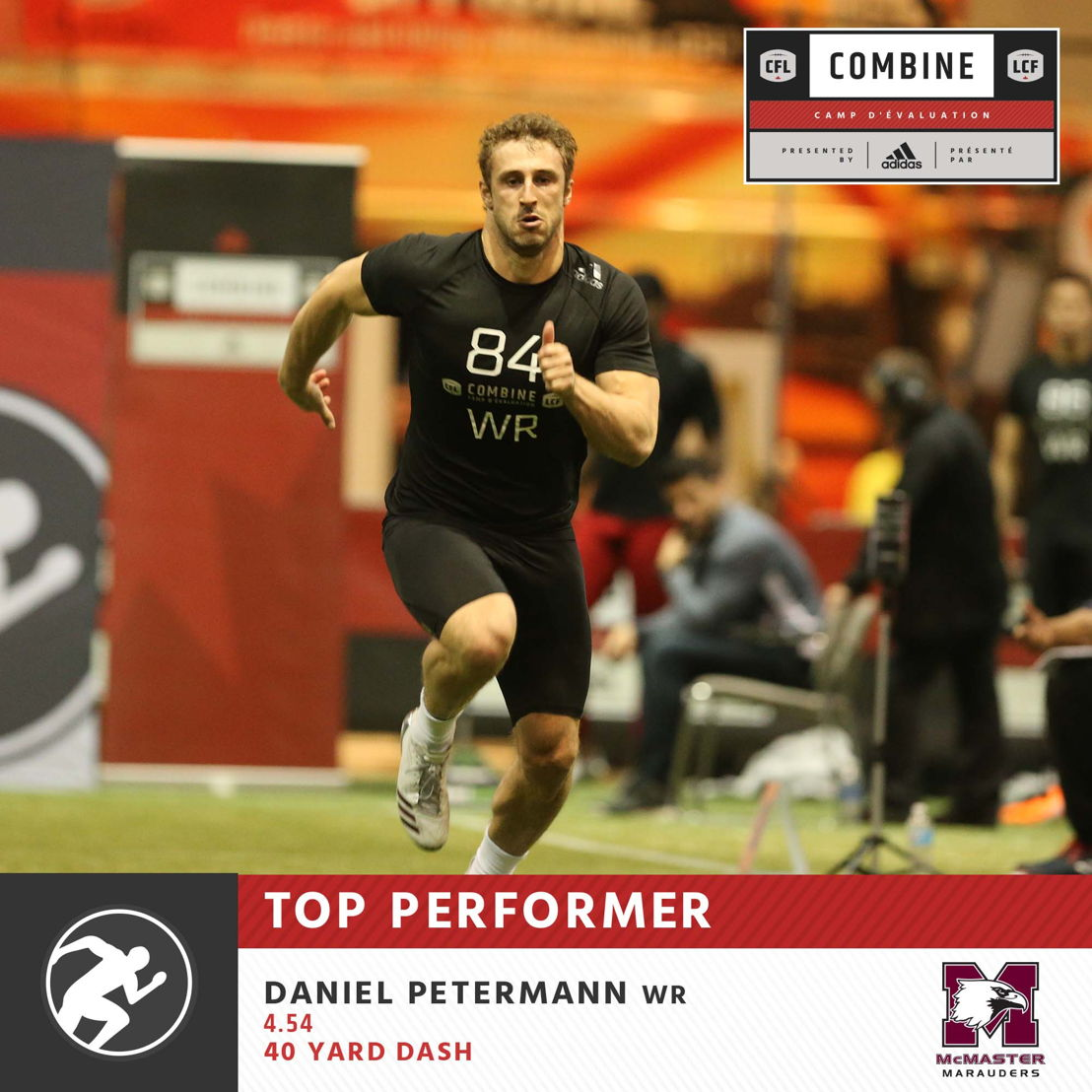 Daniel Petermann with the fastest 40-yard time at the CFL Combine presented by adidas.