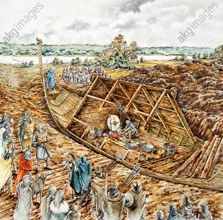 Sutton Hoo ship burial, 7th century, (1990-2010) Artist: Peter Dunn.<br/>AKG5735424