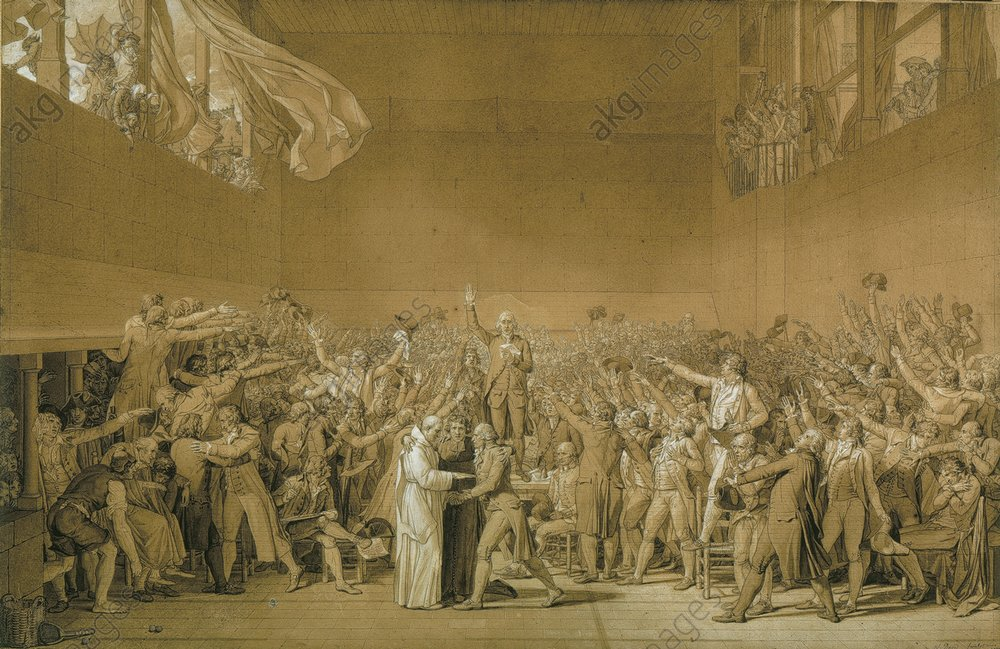 """Image ID: AKG75786<br/>The Tennis Court Oath. French Revolution.<br/><br/>""""The Tennis Court Oath."""" (Versailles, 20 June 1789).<br/><br/>Drawing, 1791, by Jacques-Louis David, (1748–1825).<br/>Ink, washed, white highlights,<br/>65 × 105cm.<br/>(On loan at the Musee de Versailles).<br/>Paris, Musée du Louvre."""