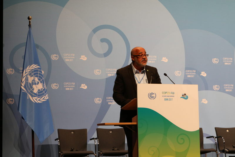 OECS Director General, Dr. Didacus Jules, addresses the UNFCCC COP23 Plenary in Bonn, Germany.