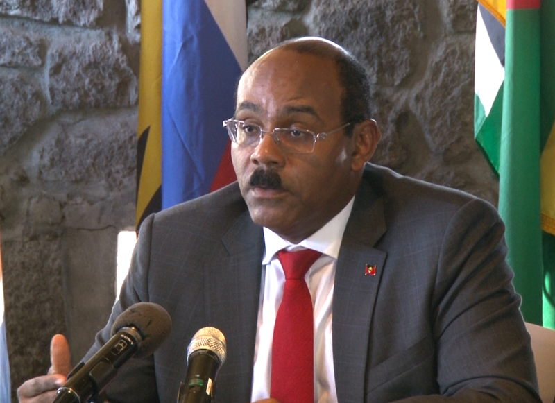 Council Member, Hon Gaston Browne, Prime Minister and Minister for Finance, Antigua and Barbuda, presenting Communiqué.