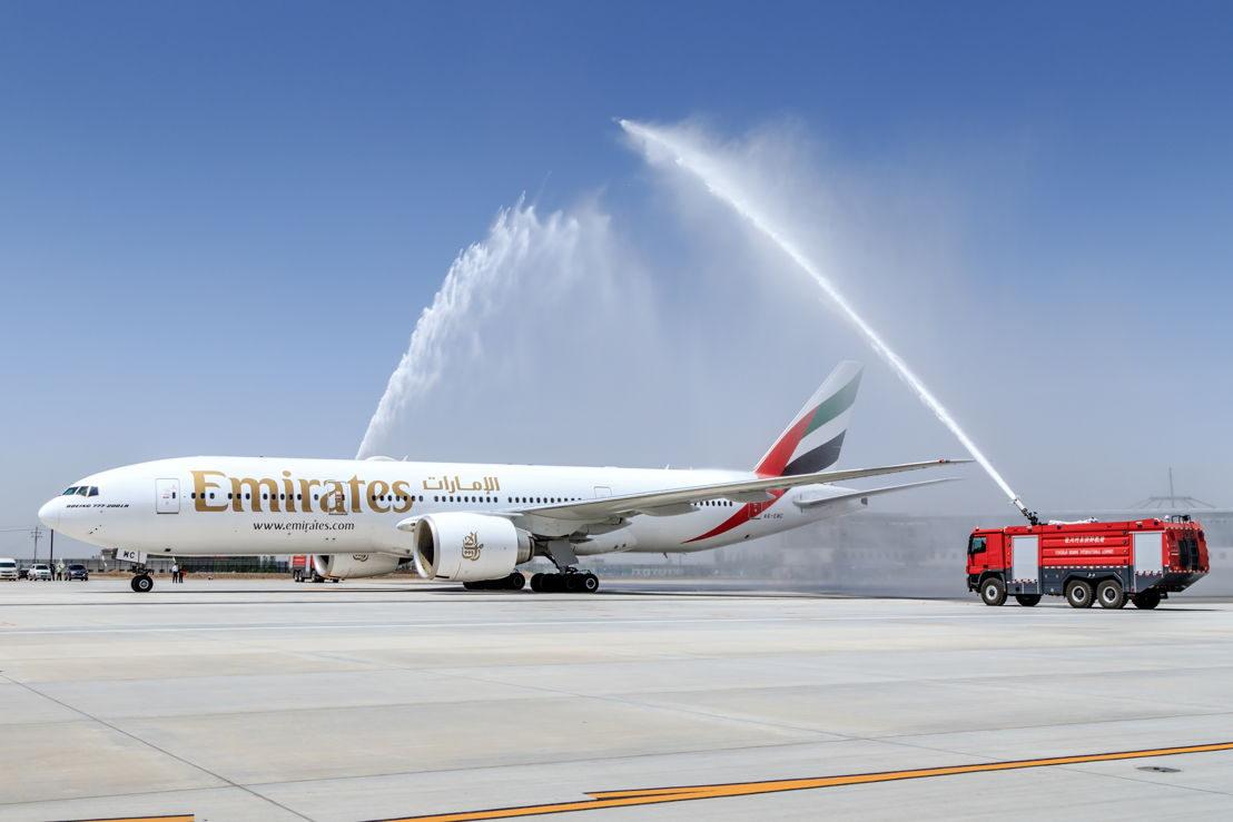 A traditional water cannon salute welcomed EK326 as it arrived at Yinchuan Hedong International Airport