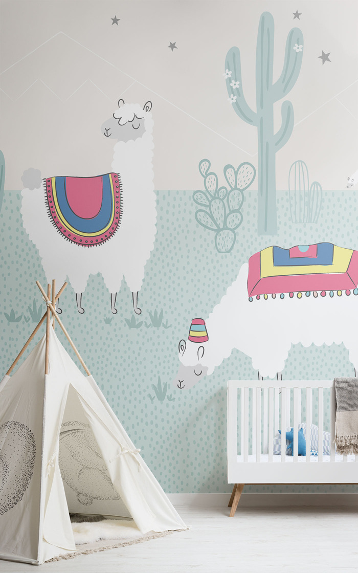 A charming wall mural for lovers of the llama trend